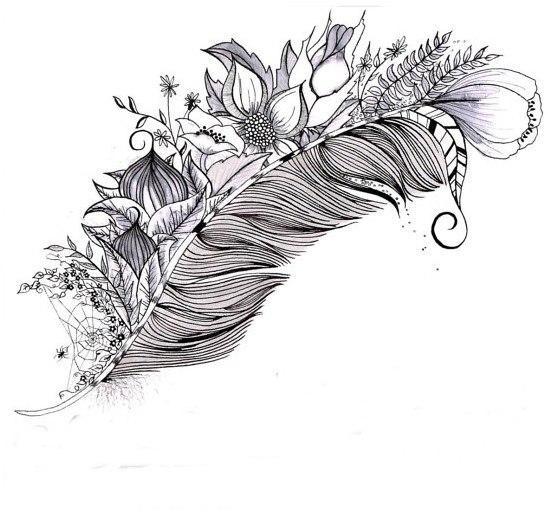 эскизы татуировок перо: