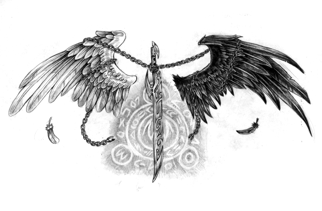тату эскиз ангел хранитель